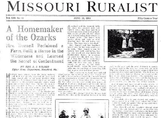 Article by Mrs A J Wilder in the Missouri Ruralist 20 Jun 1914