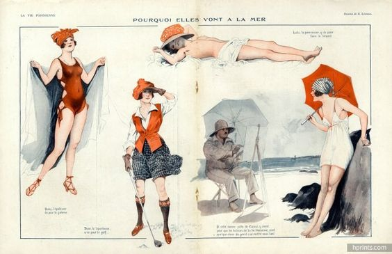 Georges Léonnec 1919 Sexy Girls... Swimmer Bathing Beauty, Painter, Golfer