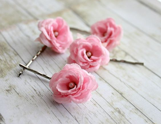 Pink Roses Flower Hair Pins Spring Summer by rosesandlemons