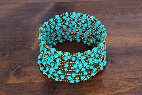 African Bracelet for Women – African Gift – Beaded Wrap Bracelet – Maasai Jewelry Handmade in Kenya – Turquoise