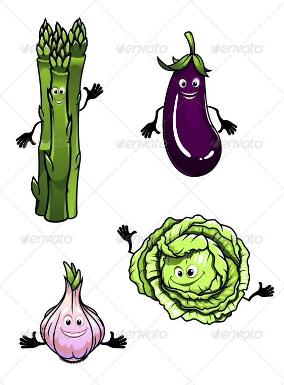 Cabbage Spinach Eggplant And Garlic Eggplant Cabbage Character Illustration