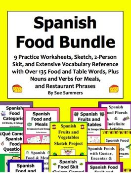 Spanish Food and Meals Bundle of 9 Worksheets, Skit, Sketch, and ...