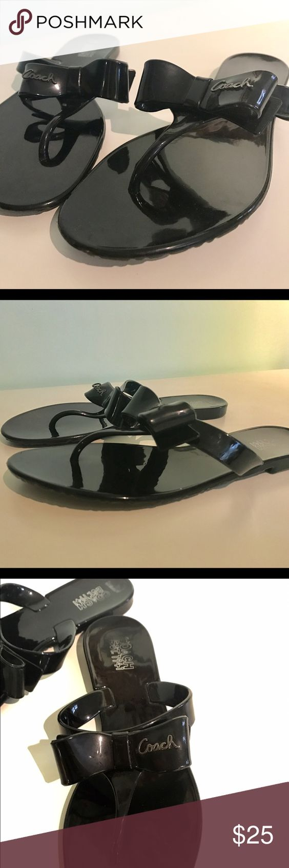 Black jelly sandals with bow - Coach Black Jelly Sandal Coach Black Patent Leather Jelly Sandals With Bow Coach Icon Name