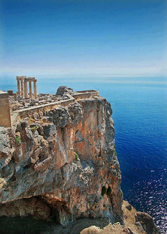 Temple of Poseidon, God of the Sea, at Cape Sounion south of Athens on Archaeologous tour.:
