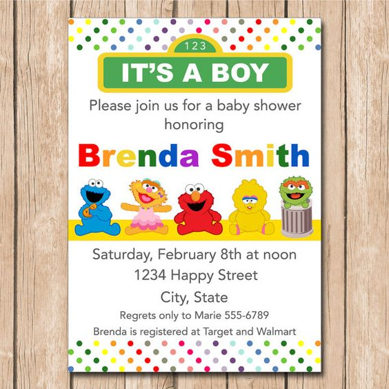 cookie monster showers shower invitations boy or girl baby shower