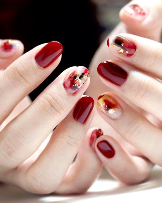 Valentines Day Burgundy Abstract Nail Design Min With Images