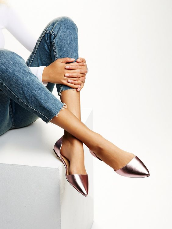 Hyde Wrap Flat | Modern suede flats with ankle wrap closure and pointed toe in a sleek design.