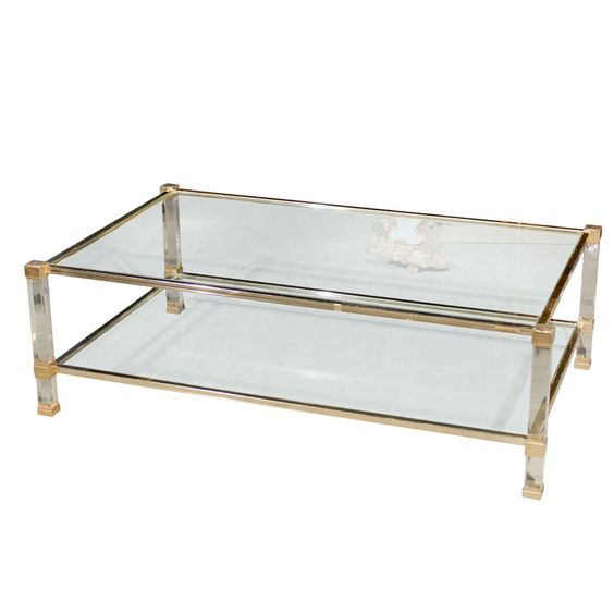 pierre vandel paris signed coffee table | brass, coffee and coffee