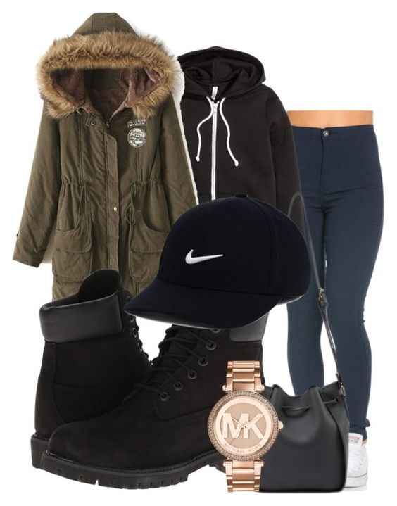 """winter outfit"" by rabiamiah on Polyvore featuring H&M, WithChic, Timberland, Michael Kors and NIKE"