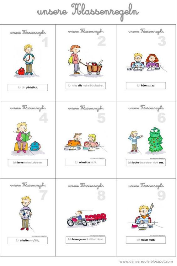 Klassenregeln Grundschule Bildkarten ~ BrezelBlog Unsere Klassenregeln  Schule  Pinterest