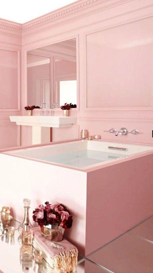 Weiblichkeit Im Interieur Durch Die Wandfarbe Altrosa Ausdrucken Mit Bildern Badezimmer Einrichtung