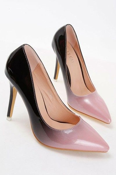Faux Leather Ombre Pointed Toe Stiletto Heels | Sexy Lady and