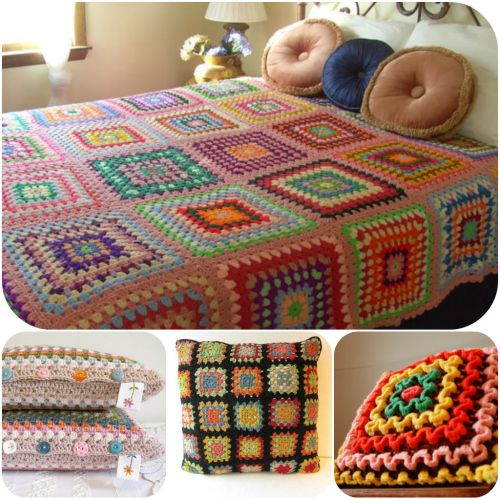Vintage crocheted afghanMulticolored afghanGranny square pattern afghanEclectic decor