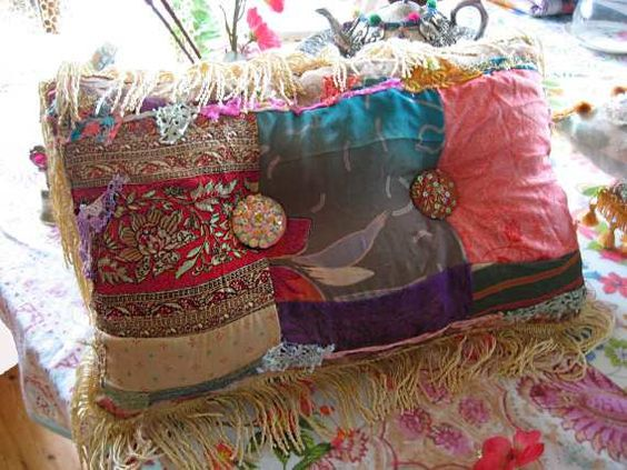 boho creek chic pillow silk patchwork beaded buttons bohemian gypsy home decor cushion on etsy 26500