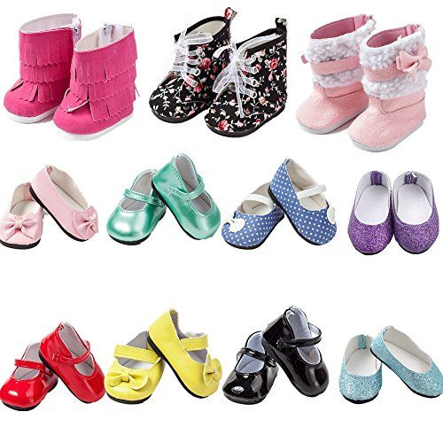 6Pairs 14inch Doll Shoes Fit American Girl Dolls Wellie Wishers Accessories Toys