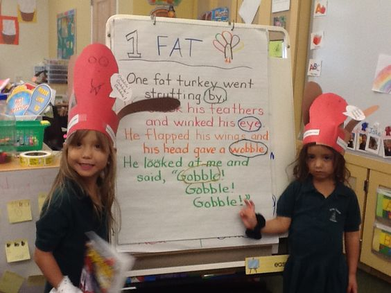 The Pre-Kindergarten students are working on recognizing rhyming words as they read.