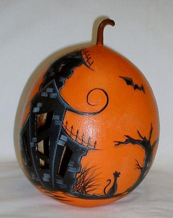 Haunted House Pumpkin Painting