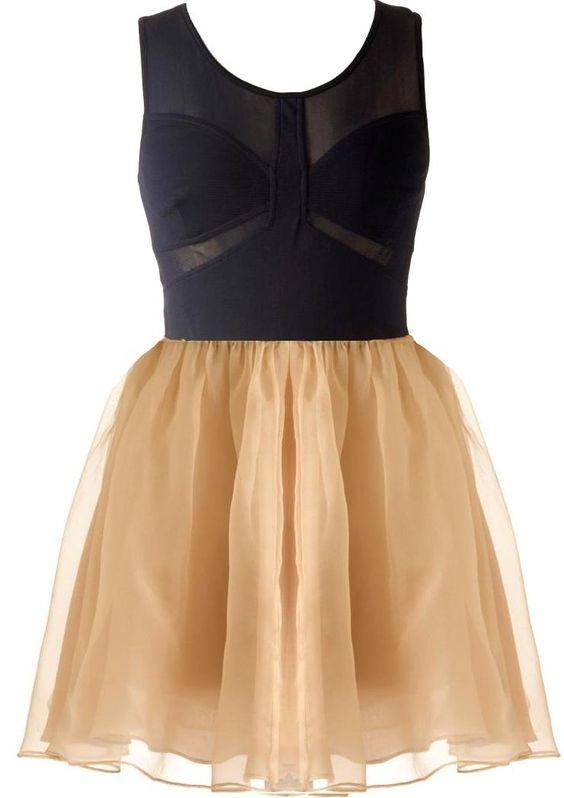 Pretty Princess Dress in Navy and Nude - RicketyRack.com
