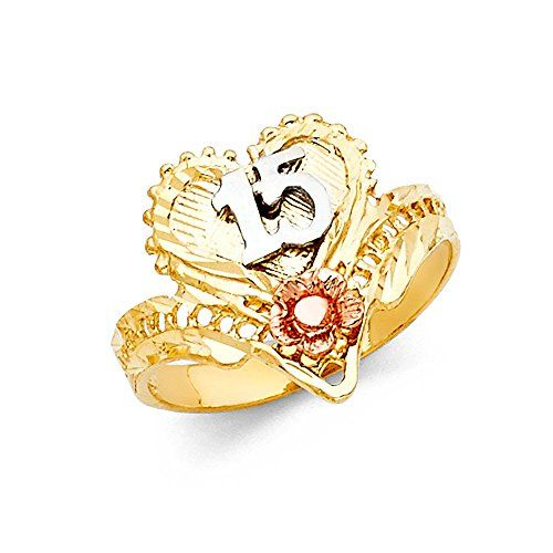 Ioka 14K Tri Color Solid Gold 15 Years Birthday Flowers Quinceanera Ring