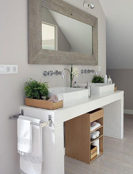 Would rather have a black from mirror and black shelf, but this would be beautiful in my bath