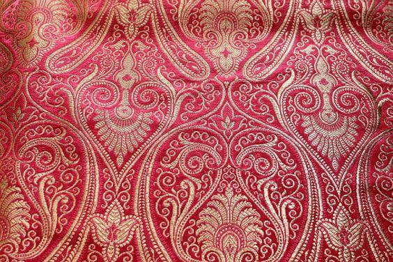Half Yard-Pure Brocade Fabric with golden by ArtsyCraftsyDesigns