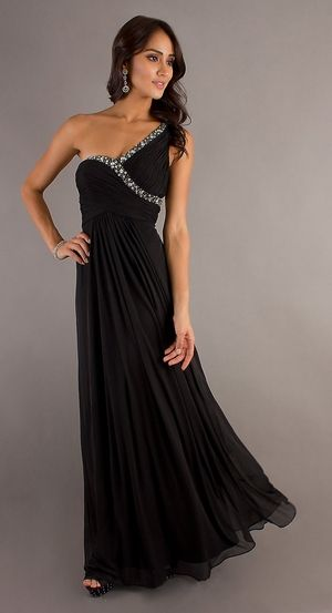 Chiffon Flowy Long Black Semi Formal Dress One Strap Empire Waist ...