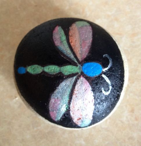 Hand Painted Stone Paperweight Dragonfly Pebble Cobble Rock | eBay