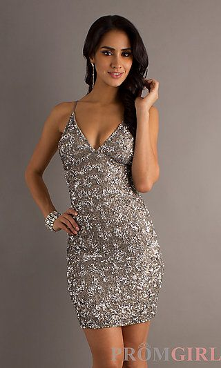 Lead Silver Sequin Cocktail Dress by Scala at PromGirl.com ...
