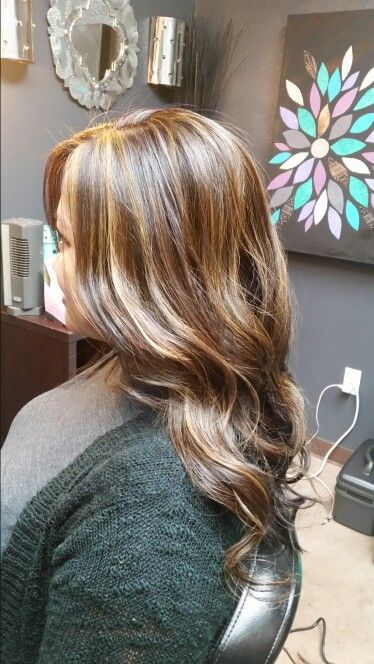 Chocolate brown with brown sugar highlights. Blonde highlights. #ANCHAIRDESIGNS