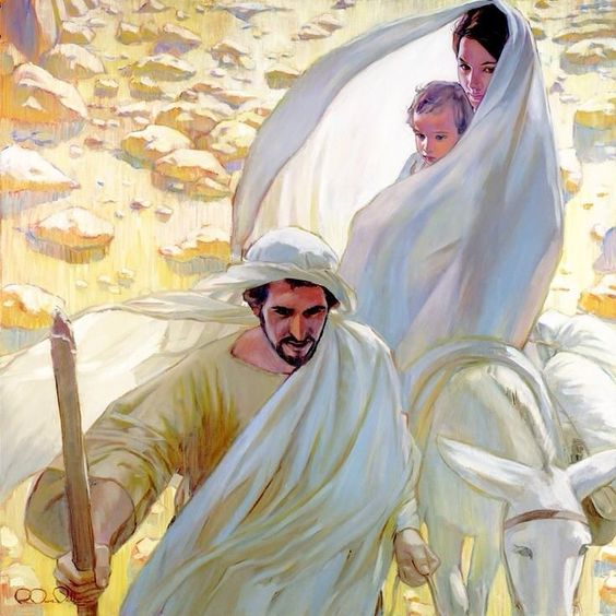 Flight into Egypt. Little Jesus. Holy Family