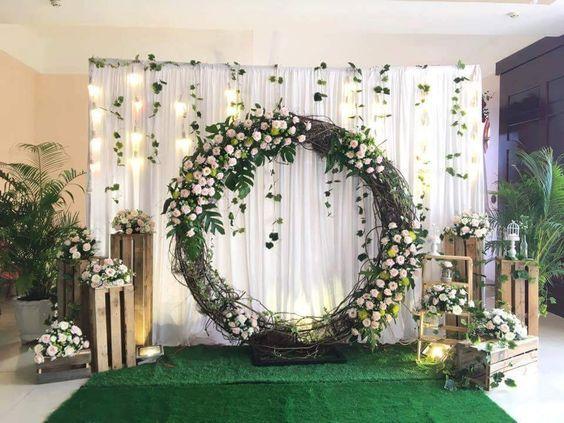 Inspirasi Dekorasi Lamaran Di Rumah | Wedding Background Decoration,  Outdoor Wedding Decorations, Diy Wedding Backdrop