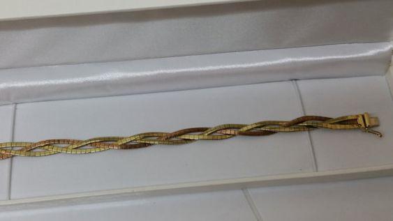 Bicolor Gelb/Rotgold 333 Schlangenarmband GA130 von Schmuckbaron