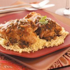 "Moroccan Chicken Thighs Recipe -""My husband and I love Mediterranean and Middle Eastern food. This recipe has lots of flavor and is one of our favorites.""  Susan Mills - Three Rivers, California"