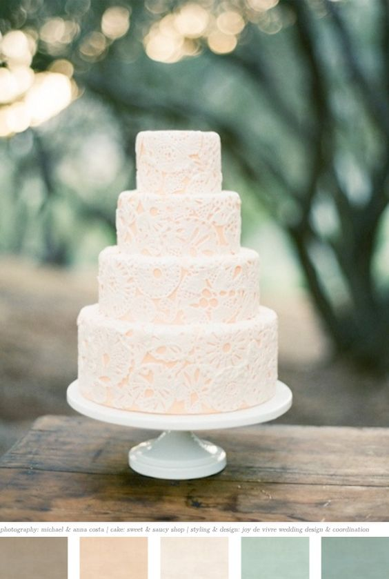Absolutely OBSESSED with this wedding cake!  So simple and yet still elegant! I would probably do a bolder color (maybe a light blue or lavender) under the faux-lace detailing.