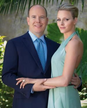Prince Albert II and Charlene Wittstock on the announcement of their engagement at the Palais de Monaco, June 2010.