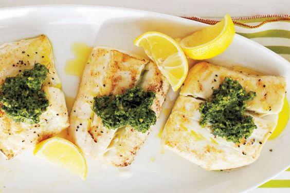 Halibut, Pesto and Pesto recipe on Pinterest