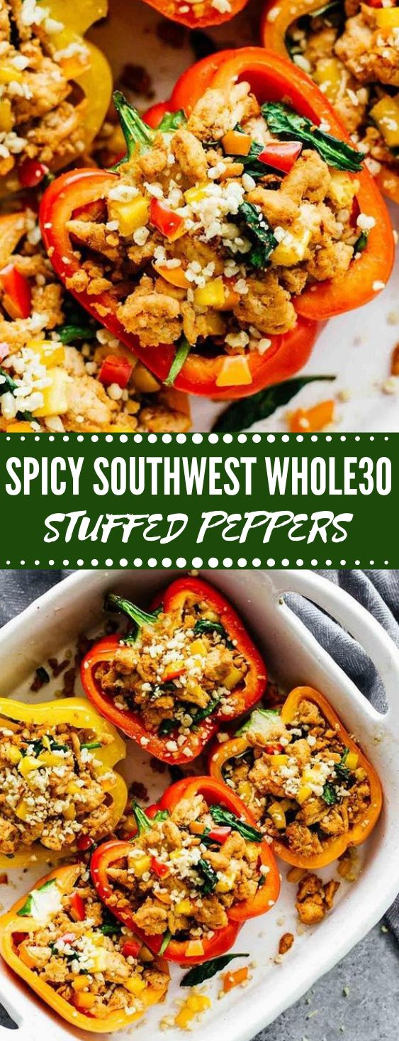 SPICY SOUTHWEST WHOLE30 STUFFED PEPPERS #paleo #keto #whole30 #diet #healthyrecipes