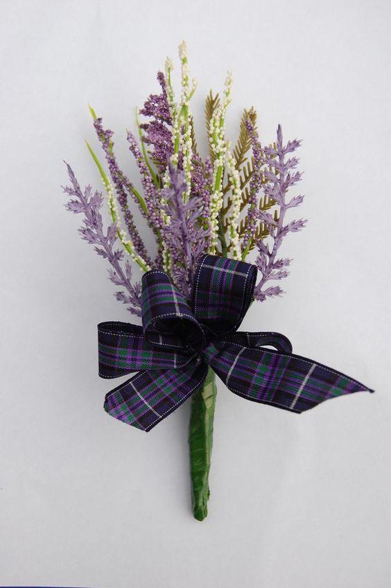 White & purple heather &Tartan Buttonhole / Wedding favour / Grooms.......nice and simple