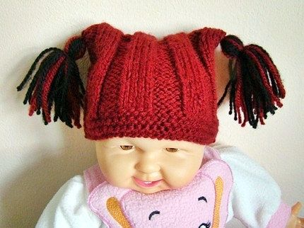 Knit Baby Beanie Baby Hat Knit Hat Baby Cat Hat by GrahamsBazaar