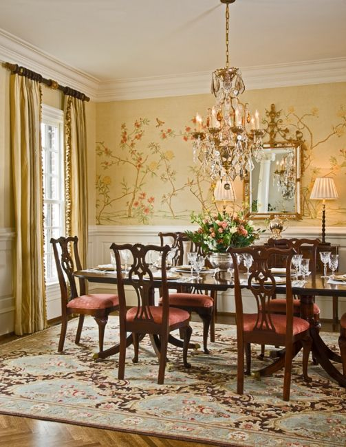 Wonderful Traditional Dining Room Ideas Part - 13: A Crystal Chandelier From Baccarat Takes Center Stage In The Dining Room.  The Rug From Moattar Set The Tone For The Soft Green Color Palette.