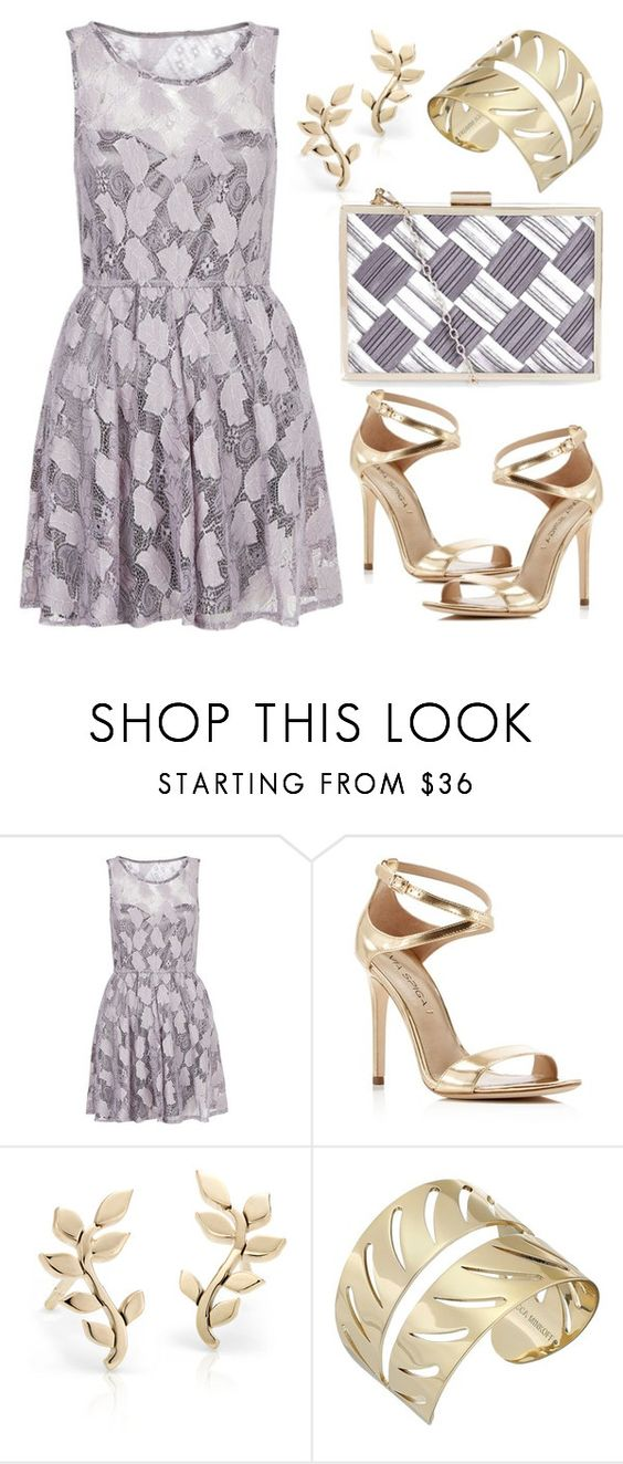 """Pastel Lace Dress With Gold Jewelry"" by boxthoughts ❤ liked on Polyvore featuring Mela Loves London, Via Spiga, Blue Nile and Rebecca Minkoff"