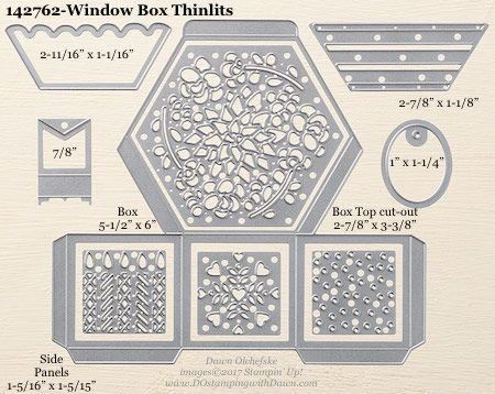 Window Box Thinlits Dies sizes shared by Dawn Olchefske: