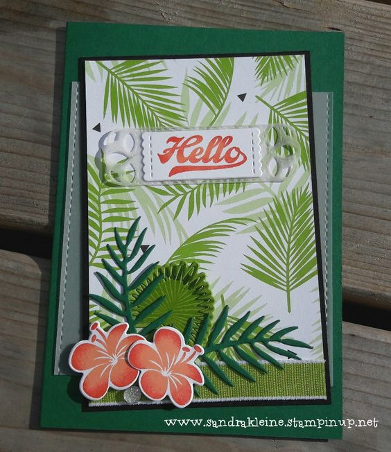 Tropical Hello - Made for Challenge #370 at https://trystampinontuesday.blogspot.com/ Colors: Shaded Spruce, Granny Apple Green, Poppy Parade, Grapefruit Grove, Basic Black. Stampsets: Tropical Chic, Jar of Love. Others: Stitched Labels Framelits, Tropical Thinlits, Silver Faceted Gems, Vellum, Granny Apple Green Ribbon. Stampin' Up! by Sandra Kleine
