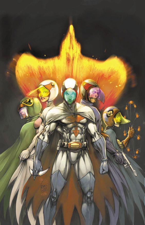 火の鳥をバックに並ぶ科学忍者隊ガッチャマンのかっこいい画像。