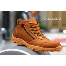 Sepatu Boots Safety Gunung Hikking Tracking Crocodile Morisey Tan
