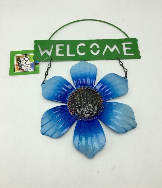 Metal Tin Hanging Welcome Blue Sunflower Flower Sign Home Garden Door Wall New #OutDoorsByDesign