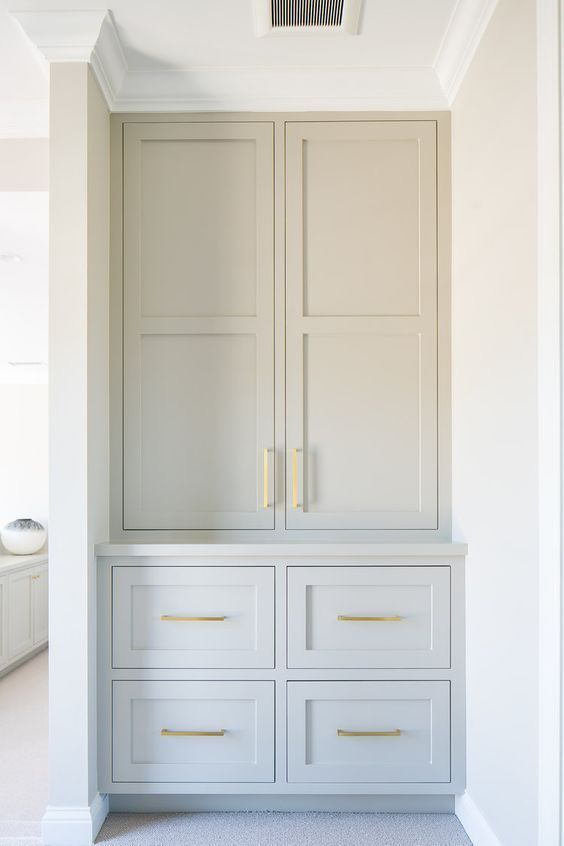 Gray Built In Tall Cabinet For Bathroom Design Or Kitchen Design