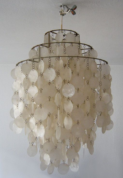 Original VERNER PANTON Shell Lamp FUN 1DM Muschelplättchenlampe J. LÜBER 1960er