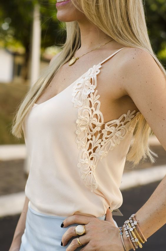 Ventilated armhole - add lace to the arm hole and side of a blouse or top for a fresh look. Or  add a little width to the size: