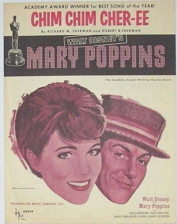 """1963 Mary Poppins """"Chim Chim Cher-ee"""" Vocal Piano Vintage Sheet Music Wall Art"""